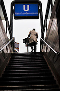 Hurried man leaving the subway