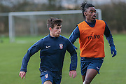 York City midfielder, on loan from Tottenham Hotspur, Kenny McEvoy  and York City defender, on loan from Arsenal, Stefan OConnor  York City FC Training Session at Bootham Crescent, York, England on 27 November 2015. Photo by Simon Davies.