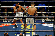 Anthony Tomlinson and Stewart Burt boxing before the Kell Brook vs Mark DeLuca WBO Inter-Continental Super Welterweight fight at the FlyDSA Arena, Sheffield, United Kingdom on 8 February 2020.