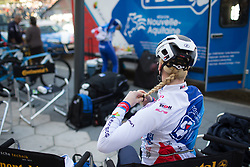 Rozanne Slik (NED) of FDJ Nouvelle Aquitaine Futuroscope Team braids her hair before Stage 4 of the Setmana Cicilsta Valenciana - a 118 km road race, starting and finishing in Benidorm on February 25, 2018, in Valencia, Spain. (Photo by Balint Hamvas/Velofocus.com)