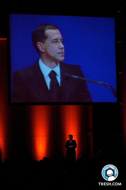 An interpreter for the hearing-impaired signs as HRC President Joe Solmonese speaks at the Human Rights Campaign Annual National Dinner, Saturday, October 6, 2007, held in the Washington D.C. Convention Center.
