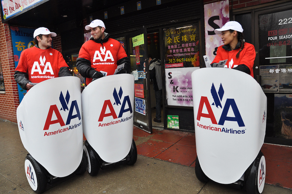 American Airlines Segways, Chinatown, Chicago, February 6th, 2011