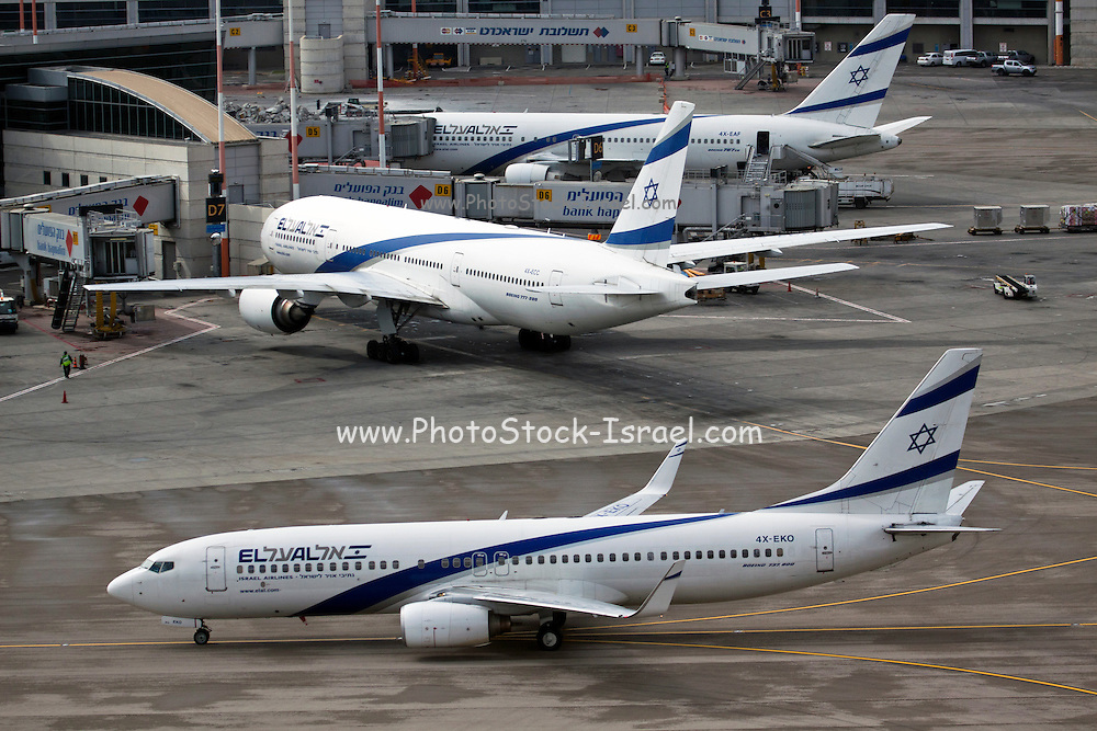 Israel, Ben-Gurion international Airport El-Al Boeing 737 (in front) and Boeing 777 in the background