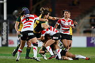 SYDNEY, AUSTRALIA - JULY 19: Grace Hamilton (8) of the Wallaroos is tackled by Ayaka Suzuki (12) and Ria Anoku (23) of Japan during the second rugby test match between the Australian Wallaroos and Japan on July 19, 2019 at North Sydney Oval in Sydney, Australia. (Photo by Speed Media/Icon Sportswire)