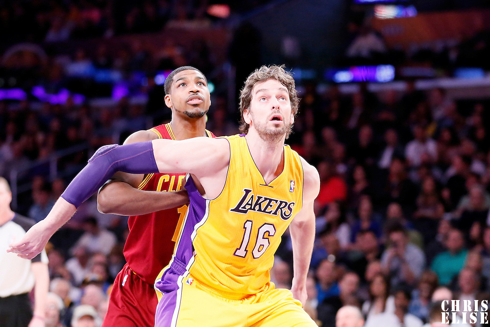 14 January 2014: Los Angeles Lakers center Pau Gasol (16) vies for the rebound with Cleveland Cavaliers power forward Tristan Thompson (13) during the Cleveland Cavaliers 120-118 victory over the Los Angeles Lakers at the Staples Center, Los Angeles, California, USA.