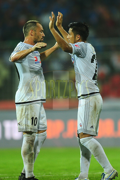 Arata Izumi of FC Pune City celebrates the goal during match 8 of the Indian Super League (ISL) season 3 between FC Goa and FC Pune City held at the Fatorda Stadium in Goa, India on the 8th October 2016.<br /> <br /> Photo by Faheem Hussain / ISL/ SPORTZPICS