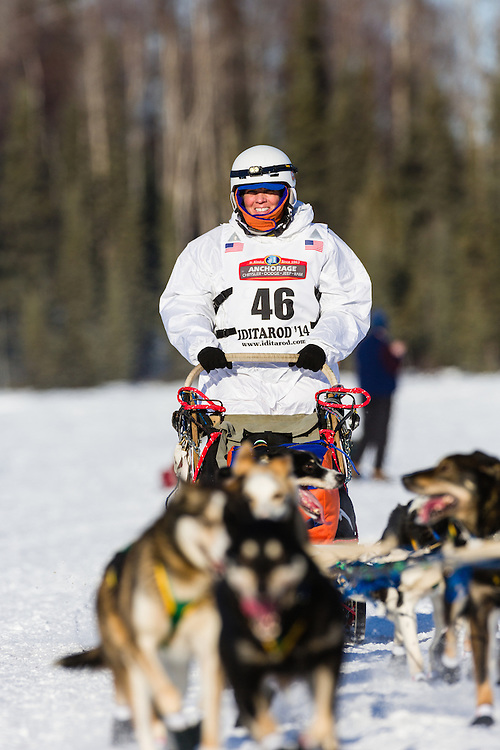 Musher Cindy Abbott competing in the 42nd Iditarod Trail Sled Dog Race on Long Lake after leaving the restart on Willow Lake in Southcentral Alaska.  Afternoon. Winter.