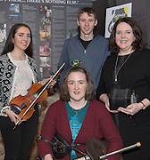 09/01/2017 Laoise Hurley, Siobhan Hogan (seated), Cormac McCafferty, Anna Cunningham all from Salthill/Knocknacarra Comhaltas Ceoltóiri Éireann in the Mick Lally Theatre , Druid for the launch of the Galway Music Centre. Photo: Andrew Downes,  xposure