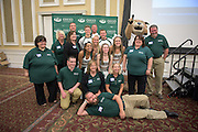 Procurement Services employees pose with Ohio University cheerleaders and Rufus during the 1st Annual Supplier Fair held at Ohio University's Baker Center Ballroom on September 7, 2016.