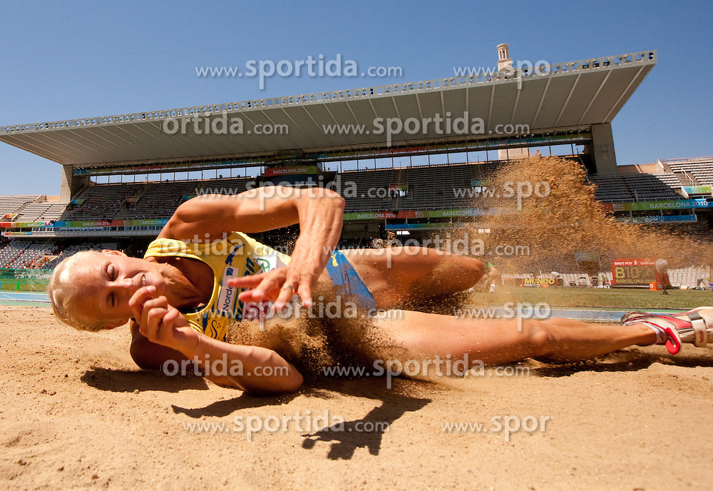 Carolina Kluft of Sweden competes in the Womens Long Jump Qualifying during day one of the 20th European Athletics Championships at the Olympic Stadium on July 27, 2010 in Barcelona, Spain. (Photo by Vid Ponikvar / Sportida)