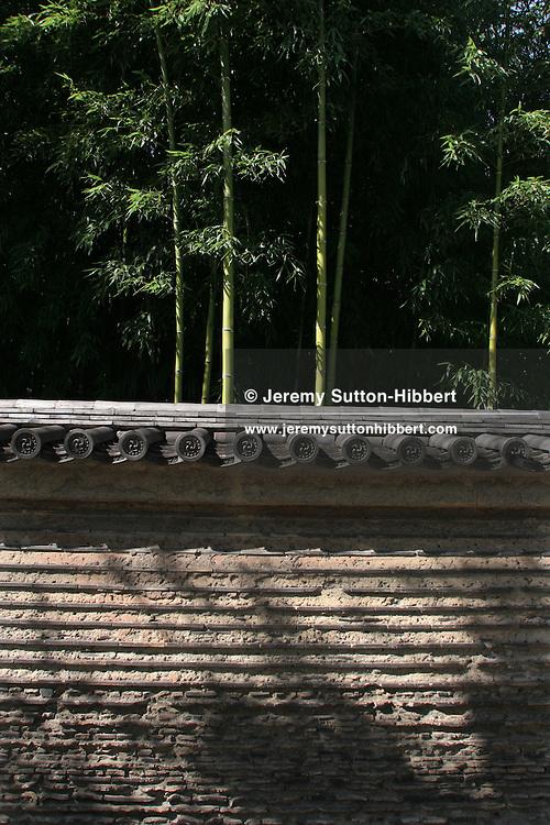 Bamboo gardens and old wall, Kyoto, Japan. 19.10.2005