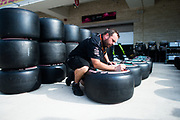 October 19-22, 2017: United States Grand Prix. Mercedes mechanic marks Pirelli tires