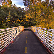 Footbridge over Humbug Creek/Willow Creek along the American River Trail in Lake Natoma Area. Folsom, CA