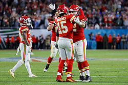 February 2, 2020, Miami Gardens, FL, USA: Kansas City Chiefs quarterback Patrick Mahomes (15) celebrates with teammates at the conclusion of Super Bowl LIV against the San Francisco 49ers at Hard Rock Stadium in Miami Gardens, Fla., on Sunday, Feb. 2, 2020. The Chiefs won, 31-20. (Credit Image: © TNS via ZUMA Wire)
