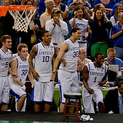 Apr 2, 2012; New Orleans, LA, USA; Kentucky Wildcats bench players react late in the second half in the finals of the 2012 NCAA men's basketball Final Four against the Kansas Jayhawks at the Mercedes-Benz Superdome. Mandatory Credit: Derick E. Hingle-US PRESSWIRE