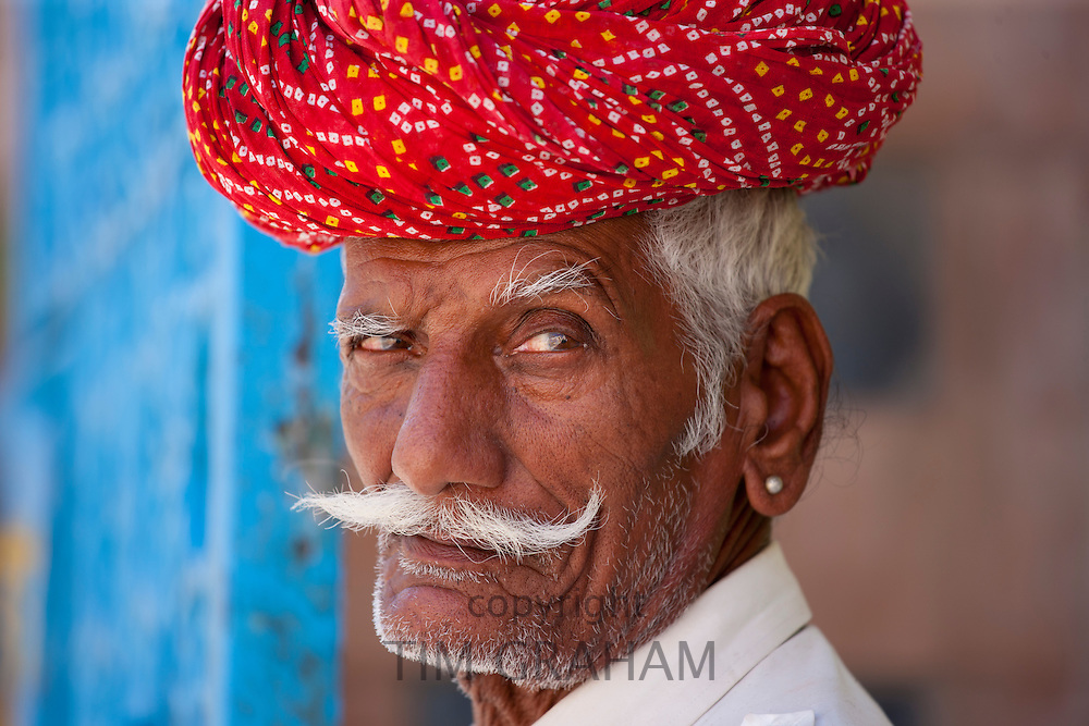 Indian man with traditional Rajasthani turban in Narlai village in Rajasthan, Northern India