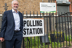 Jeremy Corbyn poses for the press outside Pakeman Primay School, his local polling station after casting his vote in the EU elections..<br /> <br /> Richard Hancox | EEm 23052019