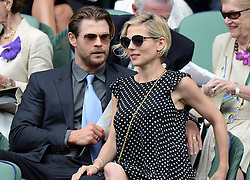 Image licensed to i-Images Picture Agency. 06/07/2014. London, United Kingdom. Chris Hemsworth and Elsa Pataky in the Royal Box  at the Wimbledon Men's Final.  Picture by Andrew Parsons / i-Images