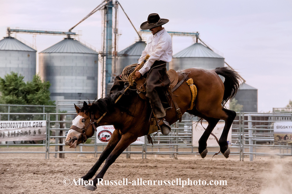 Will James Roundup, Ranch Rodeo, Ranch Bronc Riding, Tanner Bell, Hardin, Montana