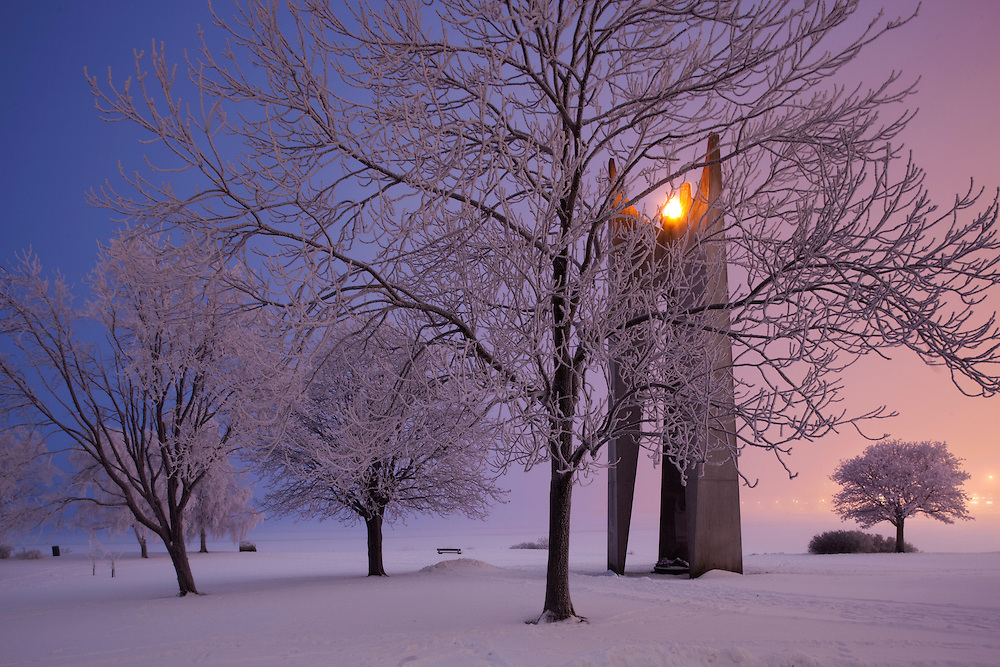 The memorial for the drowned sailors in the snowy landscape of Helsinki, Finland.