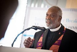 13 September 2017, New York, USA: On Gathering at the Yale Club in New York on 13 September for an interfaith prayer breakfast, faith leaders from a multitude of religions came together to support a coordinated faith-based effort in responding to HIV. The event was hosted by the World Council of Churches–Ecumenical Advocacy Alliance (WCC-EAA) in collaboration with UNAIDS, the United States President's Emergency Plan for AIDS Relief and the United Nations Interagency Task Force on Religion and Development on the side-lines of the 72nd session of the United Nations General Assembly. Here, Rev. Edwin Sanders from Metropolitan Interdenominational Church in the USA.