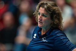 Coach Vera Koenen of Sliedrecht Sport in action in the cup final between Sliedrecht Sport and Laudame Financials VCN on February 16, 2020 in De Maaspoort in Den Bosch.