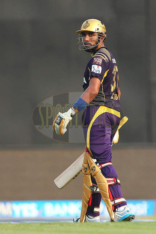 Robin Uthappa of the Kolkata Knight Riders looks back as he departs during the first qualifier match (QF1) of the Pepsi Indian Premier League Season 2014 between the Kings XI Punjab and the Kolkata Knight Riders held at the Eden Gardens Cricket Stadium, Kolkata, India on the 28th May  2014<br /> <br /> Photo by Ron Gaunt / IPL / SPORTZPICS<br /> <br /> <br /> <br /> Image use subject to terms and conditions which can be found here:  http://sportzpics.photoshelter.com/gallery/Pepsi-IPL-Image-terms-and-conditions/G00004VW1IVJ.gB0/C0000TScjhBM6ikg