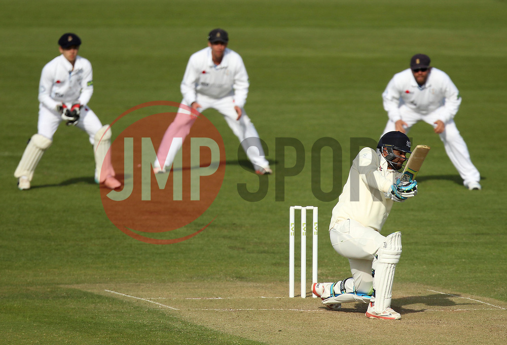 The Derbyshire slip cordon watch Gloucestershire's Kieran Noema-Barnett bat - Photo mandatory by-line: Robbie Stephenson/JMP - Mobile: 07966 386802 - 28/04/2015 - SPORT - Cricket - Bristol - The County Ground - Gloucestershire v Derbyshire - County Championship Division Two