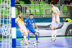 Petro Shoturma of Ukraine and Pola of Spain during futsal match between Ukraine and Spain in Quaterfinals of UEFA Futsal EURO 2018, on February 6, 2018 in Arena Stozice, Ljubljana, Slovenia. Photo by Ziga Zupan / Sportida