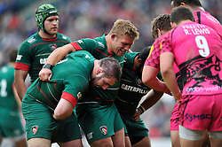 The Leicester Tigers front row pack down for a scrum - Photo mandatory by-line: Patrick Khachfe/JMP - Mobile: 07966 386802 25/04/2015 - SPORT - RUGBY UNION - Leicester - Welford Road - Leicester Tigers v London Welsh - Aviva Premiership