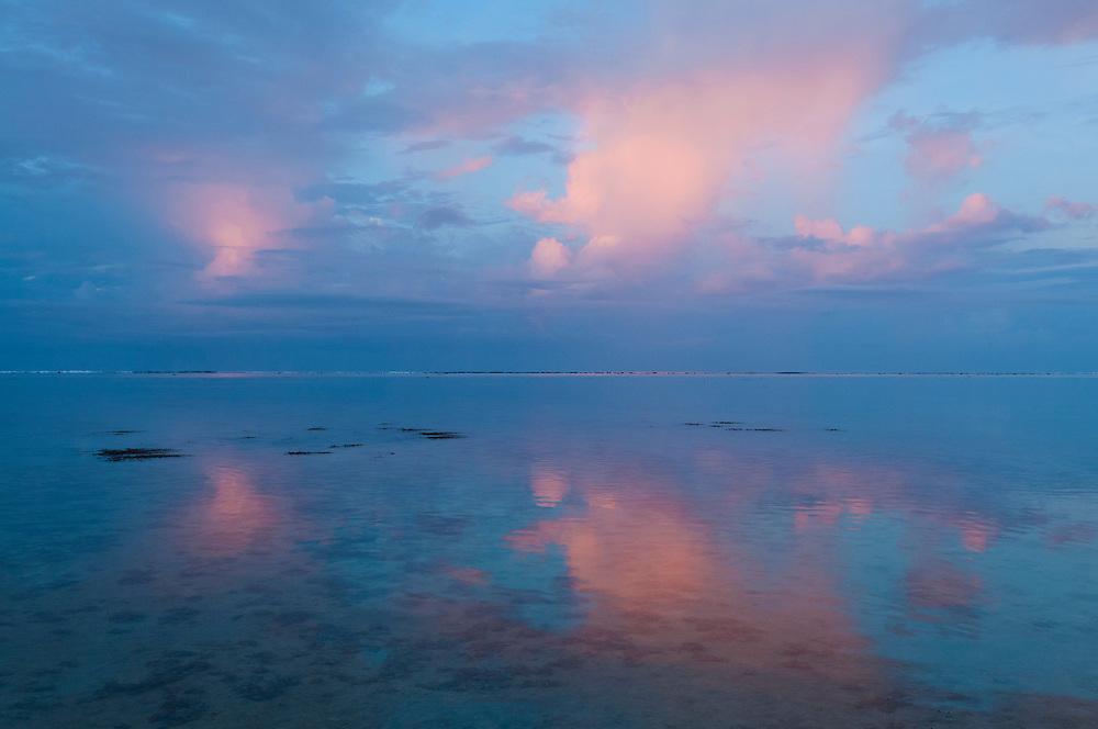 Sunrise clouds over the lagoon at Shangri-La Fijian Resort, Coral Coast, Viti Levu Island, Fiji.
