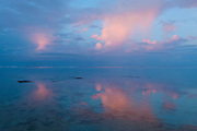 Sunrise clouds over the lagoon at Shangri-La Fijian Resort, Coral Coast, Viti Levu Island, Fiji.