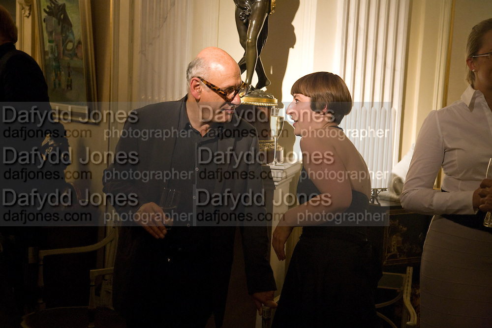 MICHAEL NYMAN; DUSTY MILLER, Book launch for ' The Fame Formula' by Mark Borkowski. Partridge Fine art. New Bond St. London. 11 September 2008 *** Local Caption *** -DO NOT ARCHIVE-© Copyright Photograph by Dafydd Jones. 248 Clapham Rd. London SW9 0PZ. Tel 0207 820 0771. www.dafjones.com.
