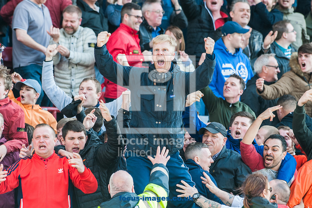 Barnsley fans celebrate following Angus MacDonald's late equalizer during the Sky Bet Championship match at Oakwell, Barnsley<br /> Picture by Matt Wilkinson/Focus Images Ltd 07814 960751<br /> 01/04/2017