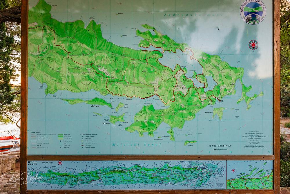 Map of Mljet Island National Park, Dalmatia, Croatia