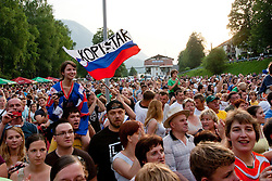 Fans at Slovenian ice-hockey player NHL Champion Anze Kopitar welcome ceremony when he arrived home after winning Stanley Cup at the end of season 2011/2012, on June 20, 2012, at Hrusica, Jesenice, Slovenia. (Photo By Matic Klansek Velej / Sportida)
