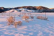 It was a frigid morning as the sun rose near Story, Wyoming. This was the view from the Wagon Box Battlefield, with the Bighorn Mountains in the background.