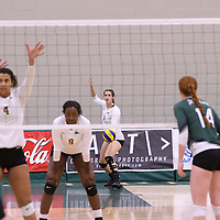 3rd year middle Kathleen Bruce (8) of the Regina Cougars in action during Women's Volleyball home game on November 18 at Centre for Kinesiology, Health and Sport. Credit: /Arthur Images