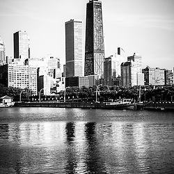 Chicago skyline picture in black and white with John Hancock Center building along the Lake Michigan lakefront. Photo is vertical, high resolution and was taken in May 2010.