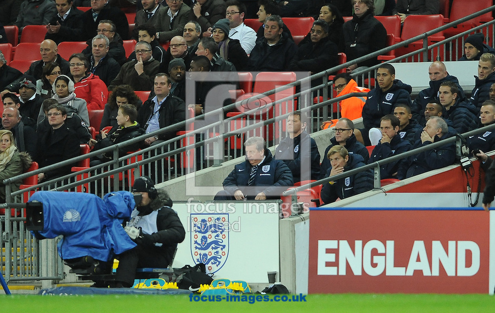 Picture by Daniel Hambury/Focus Images Ltd +44 7813 022858<br /> 15/11/2013<br /> Roy Hodgson and the England bench during the Friendly match at Wembley Stadium, London.