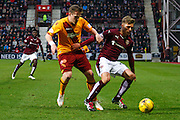 Hearts FC Forward Gavin Reilly on the attack during the Ladbrokes Scottish Premiership match between Heart of Midlothian and Motherwell at Tynecastle Stadium, Gorgie, Scotland on 16 January 2016. Photo by Craig McAllister.