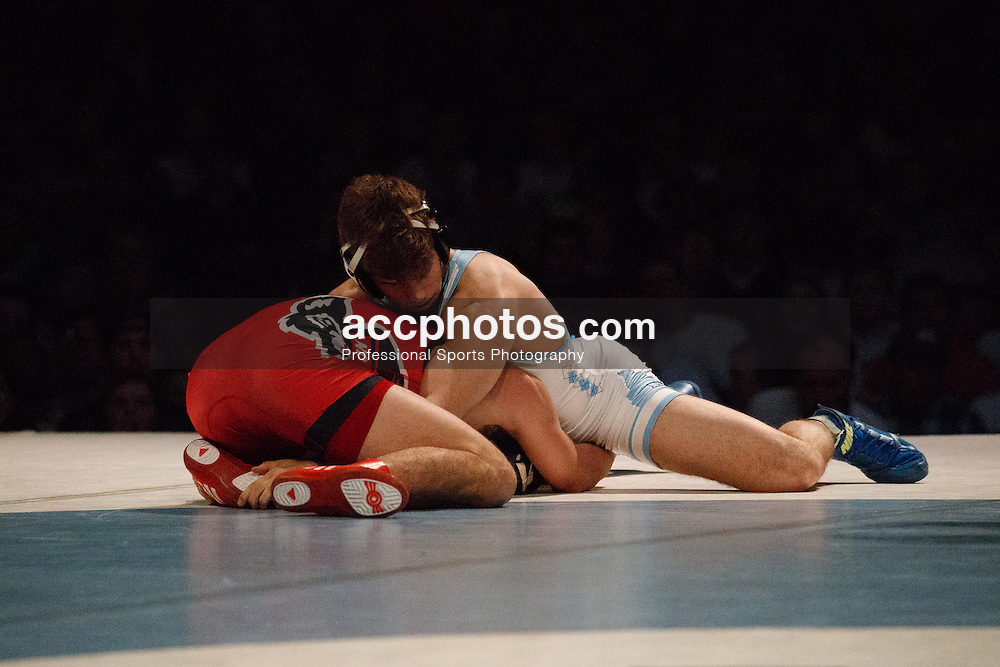 2017 January 23: North Carolina Tar Heels during a match against the North Carolina State Wolfpack at Memorial Hall in Chapel Hill, NC. NCSU won 19-11.<br /> <br /> 149: #10 Sam Speno (NCSU) dec. Troy Heilmann (UNC), 6-3