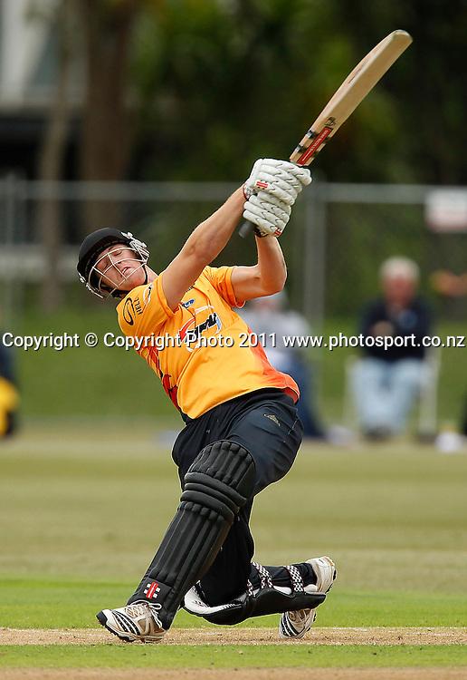 Michael Pollard of the Firebirds bats during the HRV Cup Cricket Twenty-20,  Auckland Aces v Wellington Firebirds, Colin Maiden Park Auckland, Sunday 18 December 2011. Photo: Simon Watts/www.photosport.co.nz
