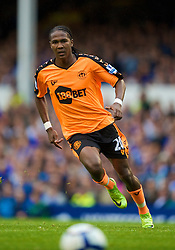 LIVERPOOL, ENGLAND - Sunday, August 30, 2009: Wigan Athletic's Hugo Rodallega in action against Everton during the Premiership match at Goodison Park. (Photo by David Rawcliffe/Propaganda)