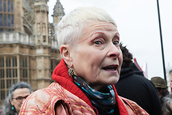 © Licensed to London News Pictures. 26/01/2015. London, UK. Fashion designer and businesswoman, Vivienne Westwood joins protestors in an anti-fracking rally opposite the Houses of Parliament in Westminster, London today.. Photo credit : Vickie Flores/LNP