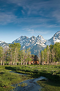 Abandoned farmhouse nestled in grove of trees not far from base of Teton Range.  Middle Teton, Nex Perce Mt. and South Teton in background.  Shot early morning.