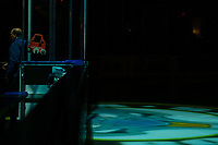 KELOWNA, CANADA - FEBRUARY 16: The lights on the door of the away team on February 16, 2019 at Prospera Place in Kelowna, British Columbia, Canada.  (Photo by Marissa Baecker/Shoot the Breeze)