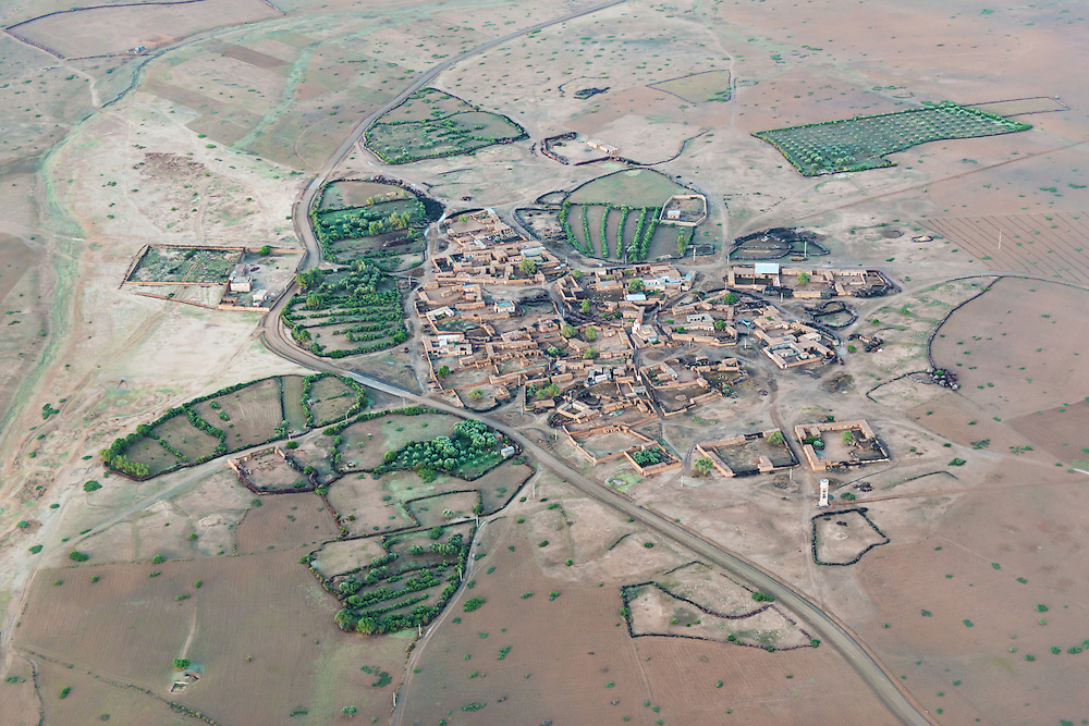 Aerial view of a village near Marrakech, Morocco.