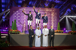 KUEHNER Max (AUT), DEUSSER Daniel (GER), BOST Roger Yves (FRA)<br /> Doha - CHI Al SHAQAB 2020<br /> Sheikh / Scheich Joaan bin Hamad bin Khalifa Al Thani gratuliert den Siegeren<br /> Siegerehrung<br /> Commercial Bank CHI Al Shaqab Grand Prix presented by LONGINES<br /> Int. jumping competition over two rounds and jump-off (1.60 m)<br /> 29. Februar 2020<br /> © www.sportfotos-lafrentz.de/Stefan Lafrentz