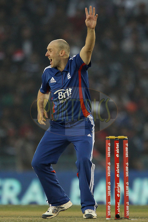 James Tredwell of England appeals for the wicket of Yuvraj Singh of India during the 4th Airtel ODI Match between India and England held at the PCA Stadium, Mohal, India on the 23rd January 2013..Photo by Ron Gaunt/BCCI/SPORTZPICS ..Use of this image is subject to the terms and conditions as outlined by the BCCI. These terms can be found by following this link:..http://www.sportzpics.co.za/image/I0000SoRagM2cIEc